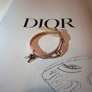 Dior Bracelet Pink Silver Leather Rose Jewlery